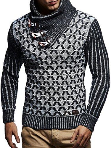 Leif Nelson Herren-Strickpullover Strick-Pulli mit Schalkragen Moderner Woll-Pullover LN5385 Schwarz Ecru Small