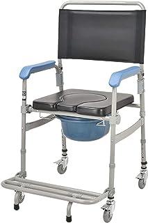 Rolstoel Opvouwbaar Lichtgewicht, Met Verrijdbare Toiletstoel/Rolstoel Douche Transportstoel/Badkamer Badkruk, 4 Wielremme...