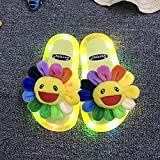 Hawaianas Mujer Chanclas,Luminosas Zapatillas para Padres, Zapatillas De Girasol Regalos para Hermanos Y Estudiantes, Zapatillas para NiñOs Caminando En La Playa En Las Noches De Verano-I 28/29 (170m
