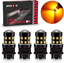 BRISHINE 4-Pack Super Bright 3157 3156 3057 4057 4157 LED Bulbs Amber Yellow 9-30V Non-Polarity 24-SMD LED Chipsets with Projector for Turn Signal Lights, Side Marker Lights