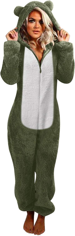 WUAI-Women Winter Warm Hooded Fleece Jumpsuits Sherpa Romper Fleece Onesie Zip up Pajamas Sleepwear Playsuit