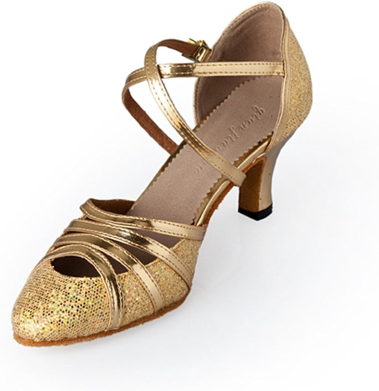 MsMushroom Woman's Pu and Glitter Ballroom Dancing shoes 4  Heel
