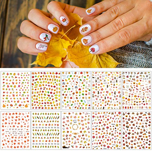 TailaiMei 3D Thanksgiving Nail Decals Stickers, Self-Adhesive Autumn Nail Art Decorations, Design for Fall Maple Leaves Pumpkin Turkey(1154 Pcs, 10 Sheets)