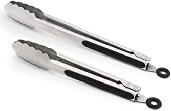 ALLWIN-HOUSEWARE W 9-Inch & 12-Inch 304 Stainless Steel Kitchen Tongs, Set of 2 Sturdy Non-Stick Grilling Barbeque Cooking Brushed Steel Locking Food Tongs with Good Grip, Black
