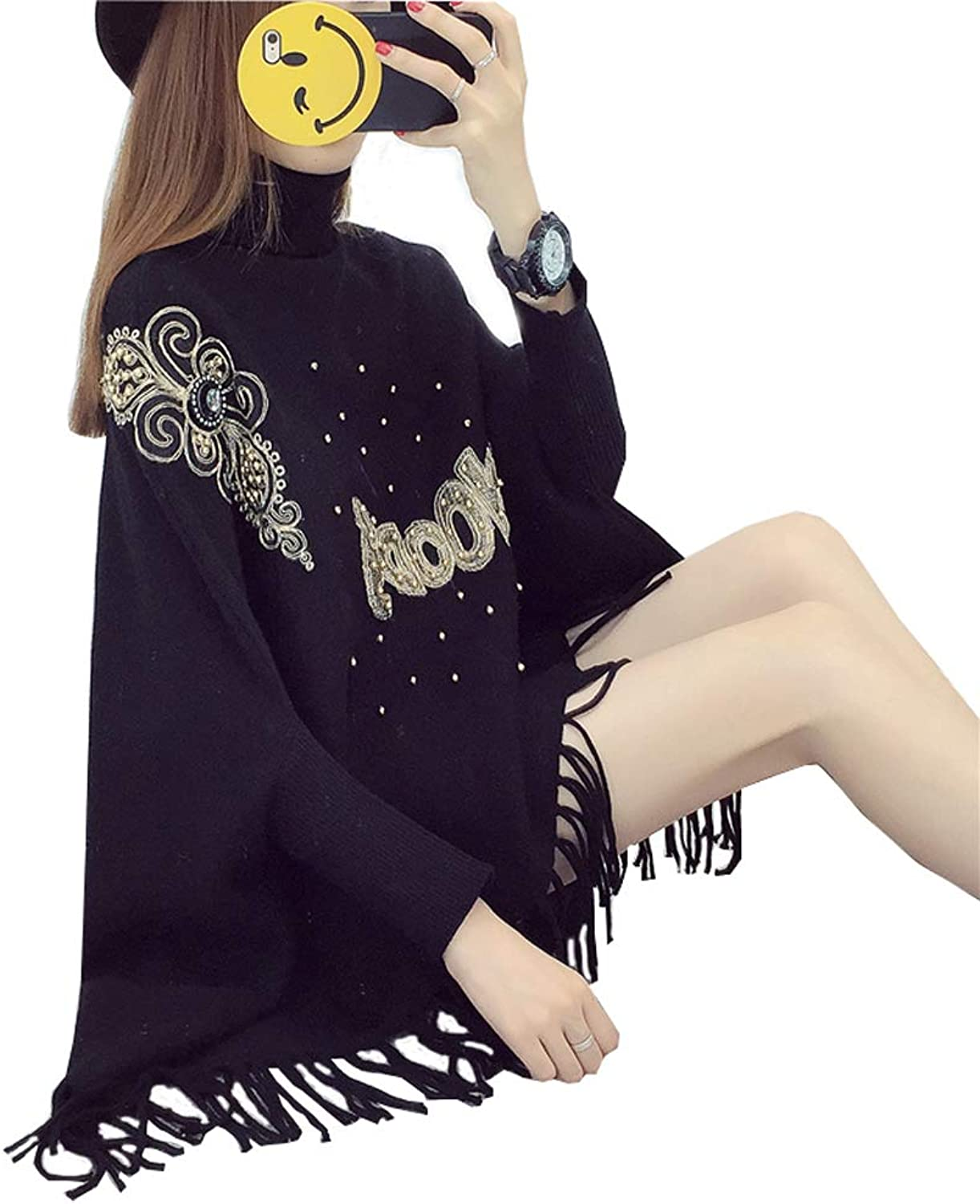 Bat Shirt Loose Beaded Sweater, High Collar Head Poncho Coat Tassel Sweater Scarf (Free Size) (color   Black)