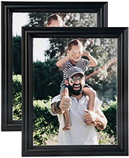NuvoLe Home 8x10 Picture Frame, Made of High Definition Glass for Table Top Display and Wall mounting Photo Frame, Black, Pack of 2