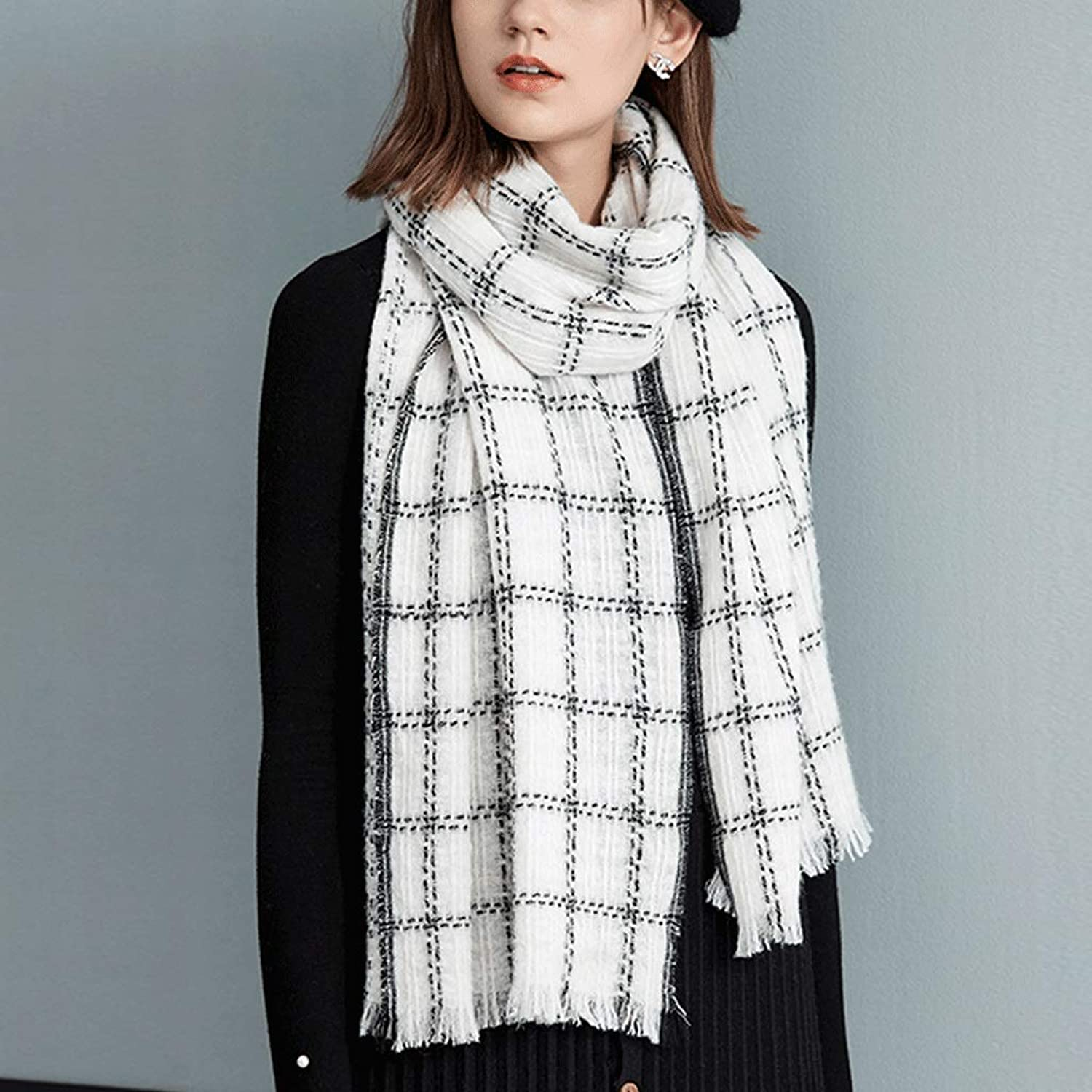 CHX Winter Shawl Scarf Both Uses Woman Student Thicken Lattice Keep Warm 190cm×50cm V (color   White)
