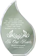 GiftsForYouNow Clear Acrylic Tear Shaped Engraved in Our Hearts Message Memorial Keepsake, 5