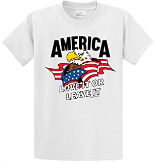 America USA Flag with Eagle Cotton T-Shirts in Regular, Big and Tall