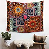 Bohemian Mandala Vintage Lotus Tapestry Indian Psychedelic Hippie Art Tapestry Wall Hanging Watercolor Yoga Tapestries for Home Bedroom Decoration Living Room Decor (51 x 59 inches)
