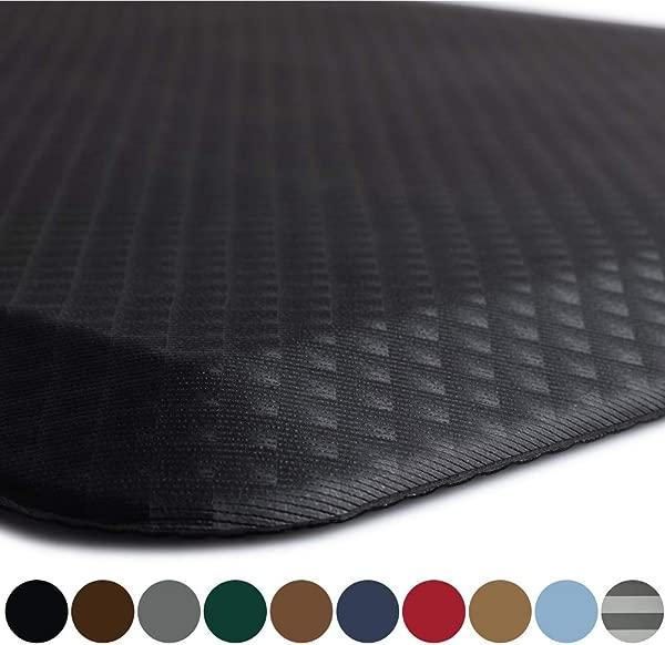 袋鼠原装站垫厨房地毯抗疲劳舒适地板邻苯二甲酸盐不含商业级垫防水人体工程学地垫办公室站立式办公桌 32x20 黑色