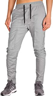THE AWOKEN Men's Casual Chino Cargo Pants with Tapered Bottom Hem Zipper Cargo Style Pockets