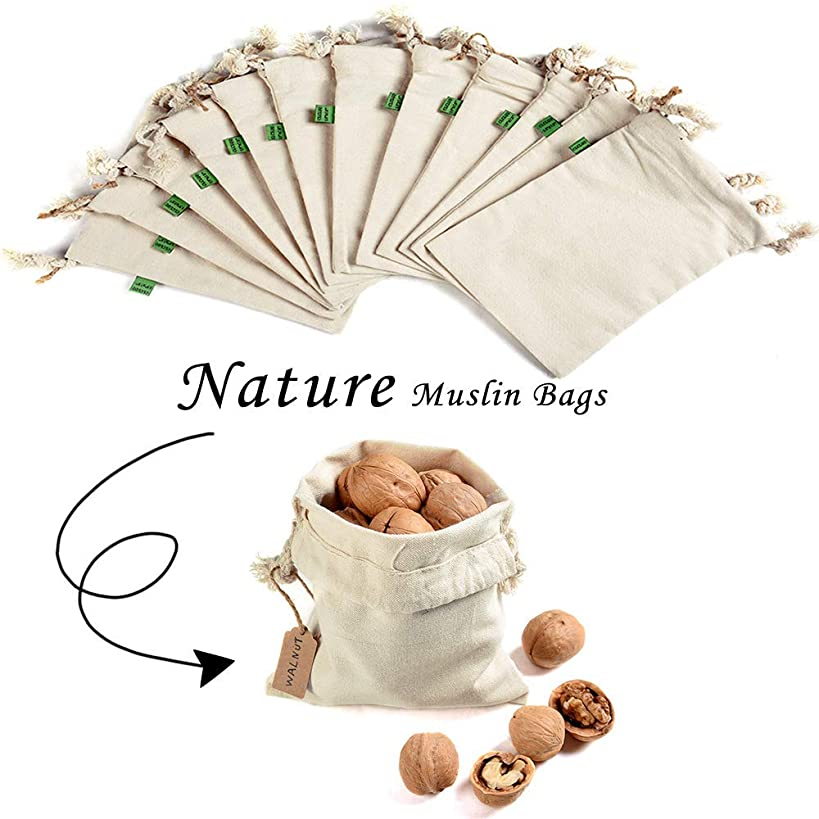 12 Pieces Canvas Drawstring Shopping Pouch Bags 5