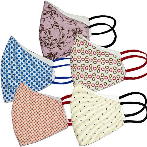 PRIVIU Essentials 100% Cotton Face Mask (Pack of 5) | Designer Mask...