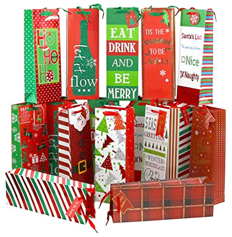Iconikal Heavy-Duty Christmas Wine Bottle Gift Bags 16-Pack