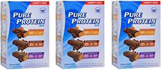 Pure Protein Bar Variety Pack 54 Count - Chocolate Peanut Butter, Chewy Chocolate Chip, Chocolate Duluxe 1.76 OZ Bar
