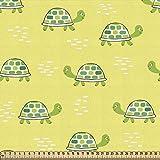 ABAKUHAUS Tortuga Tela por Metro, Infantil Nursery Naturaleza, Decorativa para Tapicería y Textiles del Hogar, 1M (148x100cm), Verde Y Amarillo