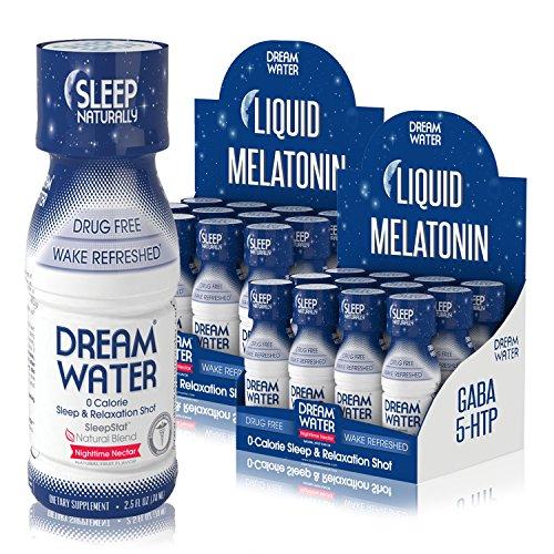 Dream Water Natural Sleep Aid, GABA, MELATONIN, 5-HTP, 2.5oz Shot, Nighttime Nectar 24 Count