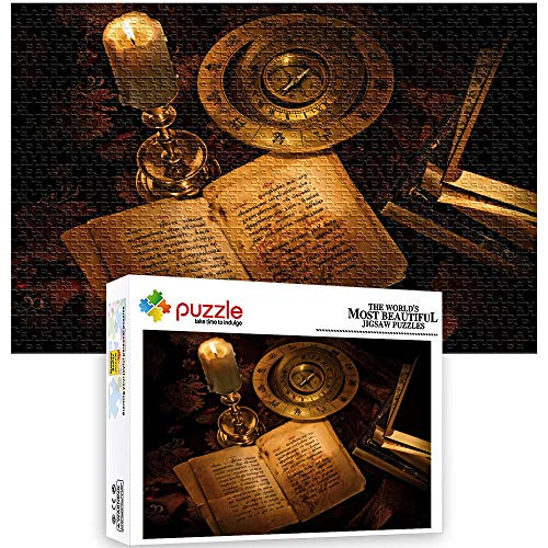 Generichaoge Puzzles 1000 Piece Book Compass Candle Fantasy Puzzles Educational Toys Educational Toys For Kids And Adults Sets Free Time To Relax For Family 52 X 38 Cm