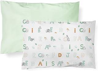 Fronha Lisa e Estampada, Papi Textil, Verde, 40cmx28cm, Pacote de 2