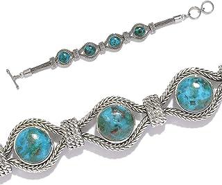 925-Sterling Silver Solid Bracelet With Natural Blue Copper Turquoise Gemstone Bracelet Handcrafted Charm With Boho Bracel...