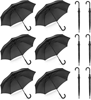 Pack of 12 Wedding Style Stick Umbrellas Large Canopy Windproof Auto Open J Hook Handle in Bulk (Matte Black)