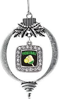 Inspired Silver - Pickleball Charm Ornament - Silver Square Charm Holiday Ornaments with Cubic Zirconia Jewelry