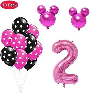Amycute 13 pcs Mickey Fiesta de cumpleaños 2 año, Decoración Globos de Cumpleaños Minnie Rosa Numero 1 Globo de Papel de Aluminio y Globo de Latex Rosa para Happy Birthday Niños de 2 año