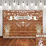 Rustic Wood Board Glitter God Bless Floral Photo Background Baby Christening Party 7x5ft Vinyl First Holy Communion Day Decorations Photography Backdrop Baptism Supplies Banner Dessert Table