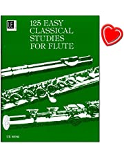 125 estudios Easy Classical para flauta – Escuelas y composiciones de famosos flautas como Quantz, Böhm o Köhler – Libro de partituras con colorido clip en forma de corazón
