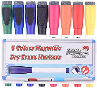 Magentic Dry Erase Markers with Eraser, Feela 8 Colors White Board Markers and Eraser, Medium Point Low-Odor Markers Usable on Magnetic Whiteboard Surface for School Office Home