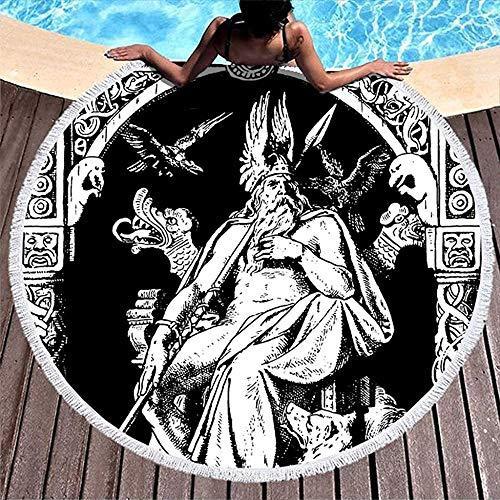 Nazi Mie Casco de Guerrero Vikingo nórdico Lobo del dragón Odin Raevn Nudo Bosquejado Pintura Toalla de Playa Redonda Piscina de Playa