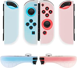 TNP Nintendo Switch Joy-Con Grip Gel Guards with Thumb Grips Caps - Protective Case Covers Anti-Slip Ergonomic Lightweight Design Joy Con Comfort Grip Controller Skin Accessories (1 Pair Neon White)