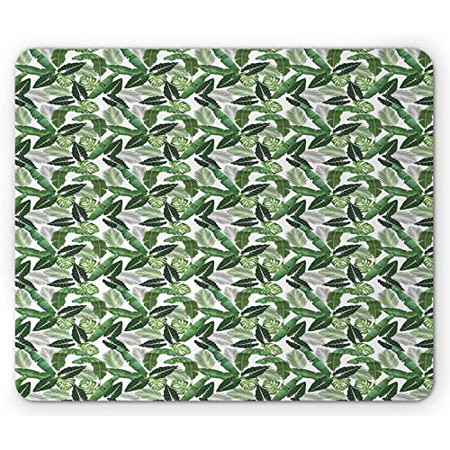 Exotische Mauspad Tropische Botanik Laub Zimmerpflanzen Banane Palmblatt Monstera Dschungel Aloha Rechteck Rutschfestes Mousepad Standardgröße