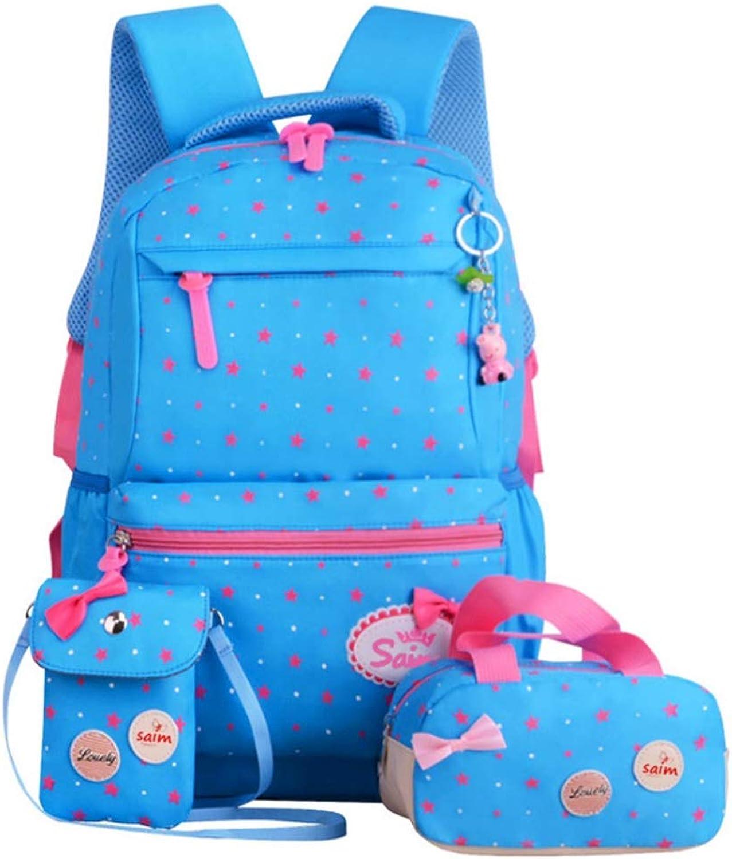 Leichte Studentenrucksäcke Teenager-Mädchen-Rucksack-Set Teenager-Mädchen-Rucksack-Set Teenager-Mädchen-Rucksack-Set 3 in 1 niedlichen Bowknot-Sterne-Druck-beiläufige Laptoptasche Hauptstudenten-Rucksack-Handtaschen-Schulter-Beutel-Geldbeutel-Schule Bookbag-Sa B07Q6N9WGJ  Trendy f985ff