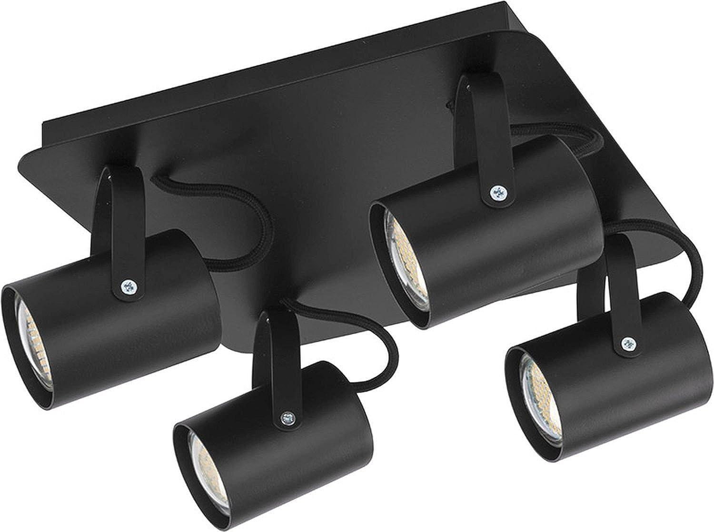 Deckenstrahler 4-flammig eckig Schwarz GU10 schwenkbar beweglich moderne Deckenlampe Spot Wohnzimmer Flur Küche