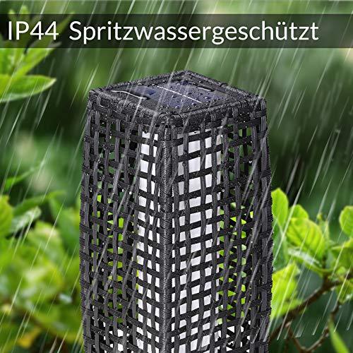 DEUBA Poly Rattan LED Solarleuchte Solarlampe schwarz | 70cm Hoch | Stehend | Für Garten, Balkon & Terrasse – Außenleuchte Gartenleuchte Gartenbeleuchtung Solar Gartenlampe Außen - 3