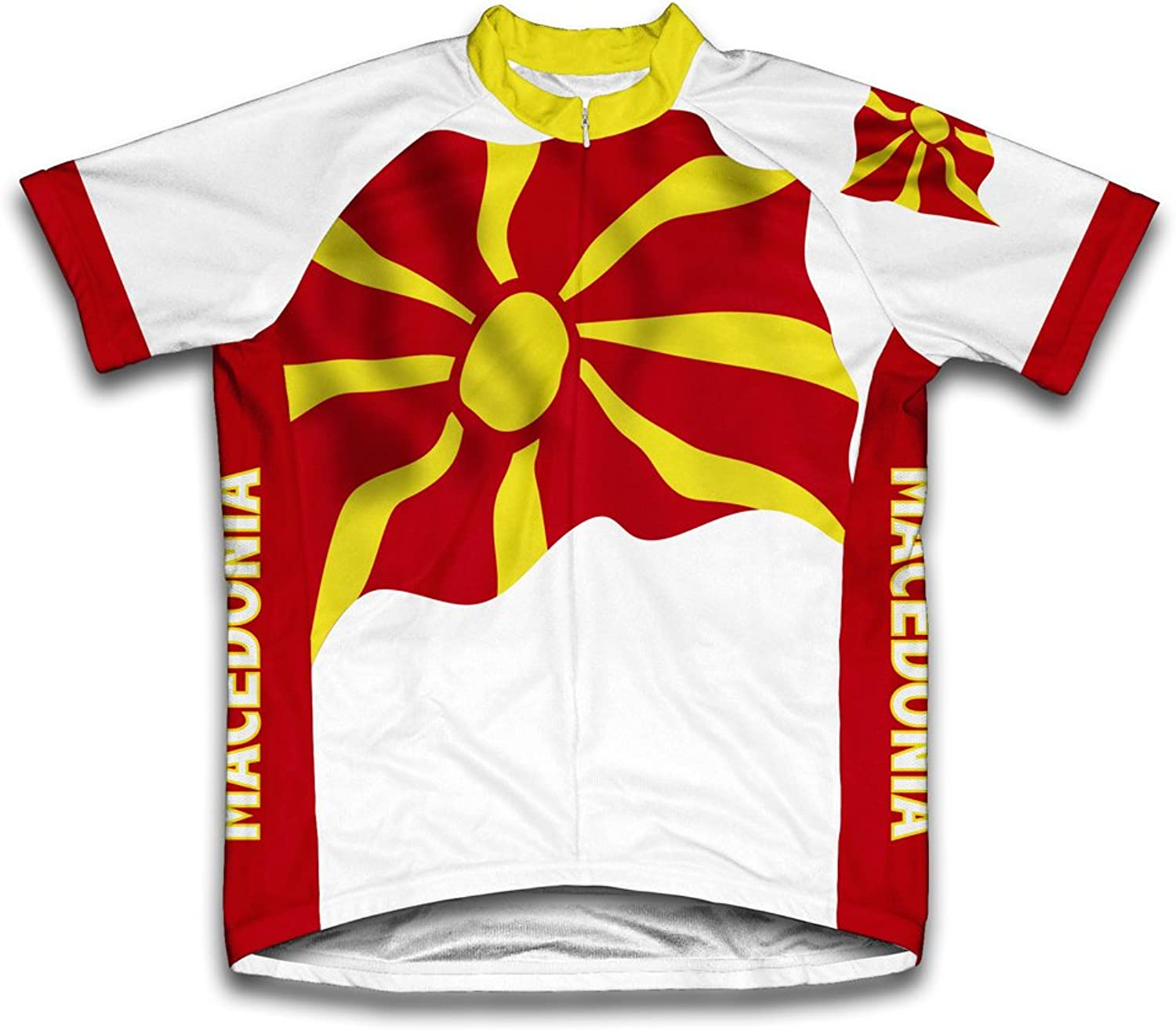Macedonia Flag Short Sleeve Cycling Jersey for Men