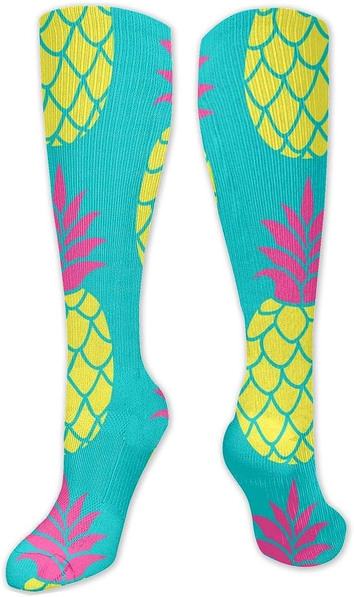 Yellow Pineapple Knee High Socks Leg Warmer Dresses Long Boot Stockings For Womens Cosplay Daily Wear