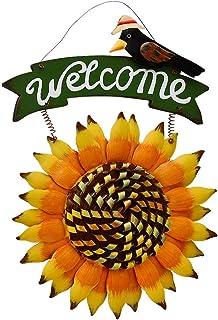 Attraction Design Welcome Sign for Front Door Decor Hanging Sign, Metal Flower Welcome Door Sign Decor Outdoor Garden Deco...