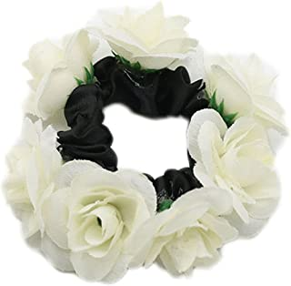 super1798 Women Fashion Floral Flower Bun Hairband Garland Bridal Scrunchie Band - White