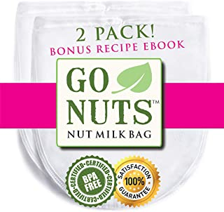 """2-PACK Best Nut Milk Bag - Restaurant Commercial Grade by GoNuts - Cheesecloth Strainer Filter For the Best Almond Milk, Cold Brew Coffee, Tea, Juicing, Yogurt, Tofu - BPA-Free Nylon 12""""x10"""