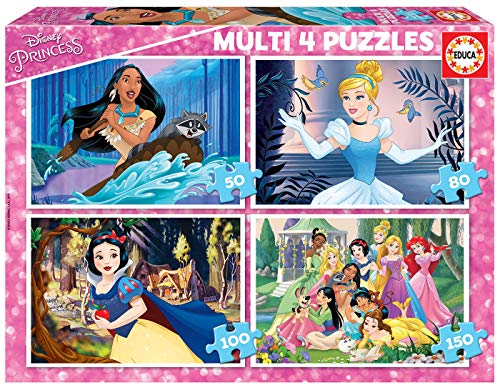 Educa 17637 Multi 4 Disney Princess 50-80-100-150