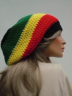 SALE - Jamaican Colors, Rasta Hat, Dreadlock Tam, Rasta Tam Cap, Hippie Hat, Bag Hat, Black Red Yellow Green Hat, Jamaica Flag Colors
