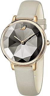 Swarovski Crystal Lake Watch Leather Strap Gray Rose Gold Tone