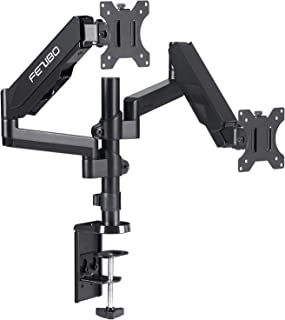 "Dual Monitor Stand - FEZIBO Adjustable Full Motion Monitor Mount Monitor Arm, C Clamp/Grommet Mount for 2 Screens from 17"" to 32"" Gas Spring LCD Computer Screens"