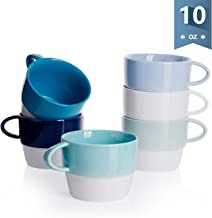 Sweese 407.003 Porcelain Latte Cups – Stackable Coffee Cups – 10 Ounce for..