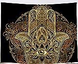 Amiiba Schwarz-Gold Hamsa Hand Wandteppich Böser Blick Psychedelic Trippy Tapisserie Wandbehang Mandala Bohemian Home Dekoration für Schlafzimmer Wohnzimmer (Hand, L - 200,7 x 149,9 cm)