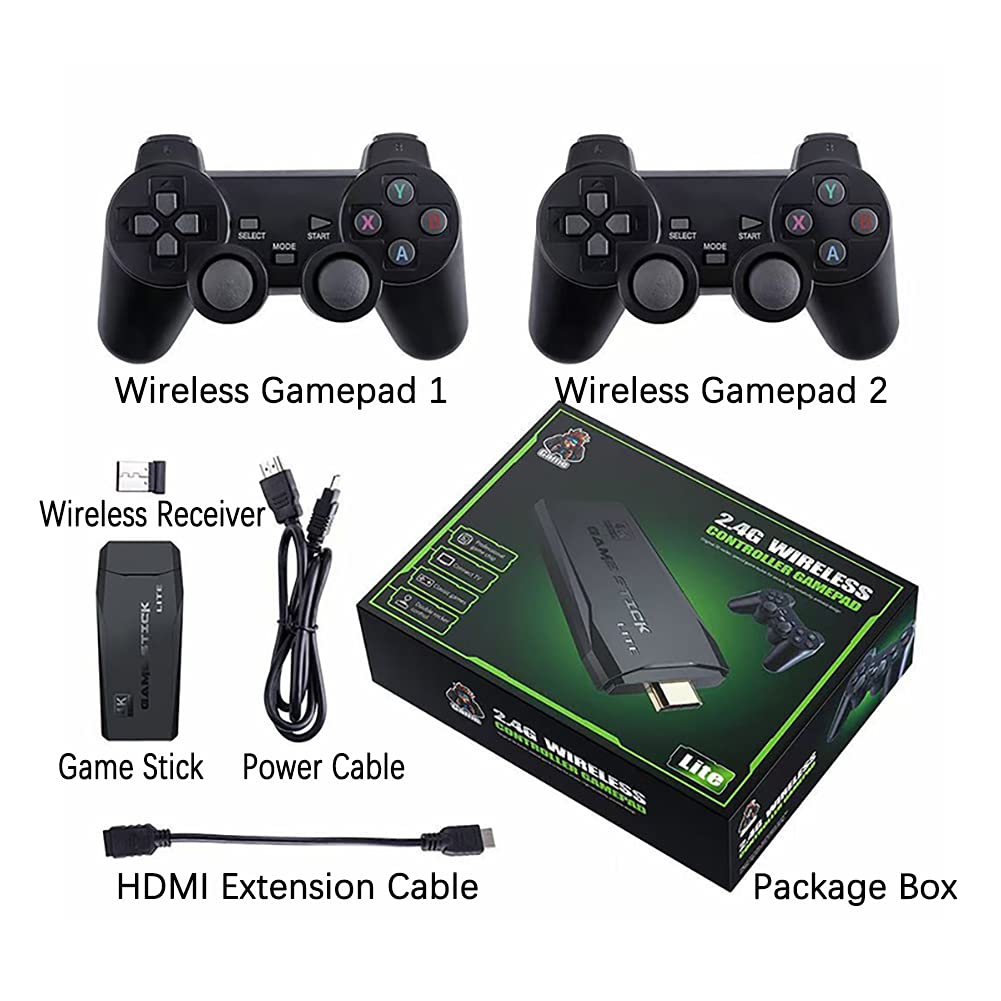 DREAMHAX M8 Game Stick 4K Game Console with Two 2.4G Wireless Gamepads Two Players Dual Play HDMI Output Built in 3500 Classic Games Retro Video Game Console for TV/ PC/ Laptop/ Projector