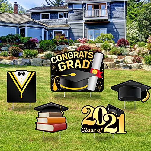 Greatingreat Graduation Yard Sign Congratulations Class of 2021 Graduation Cap Tassel Graduation Yard Sign Decoration 2021-Congrats Grad Graduation Gifts-Outdoor Lawn Sign-5PCS